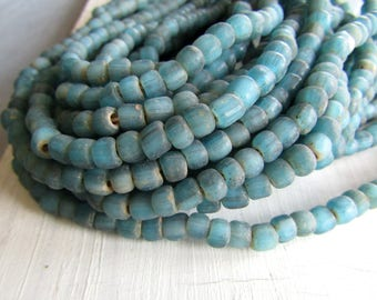 blue seed glass beads, turquoise rustic ancient style , spacer tube barrel, indonesia New Indo-pacific 4 to 6mm  (22 inches strand ) 7ab57-2