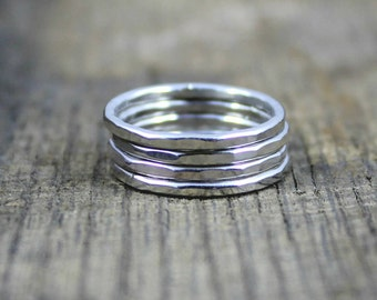 ADD ON - Sterling Stacking Rings - Set of 4 with Hammered Finish