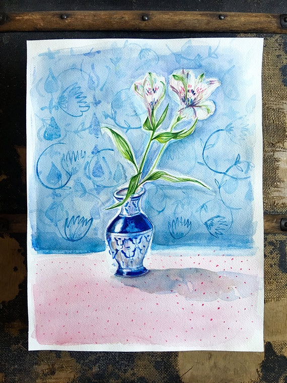 Original watercolor and ink painting on paper Doty Blue Vase artwork by Paula Mills
