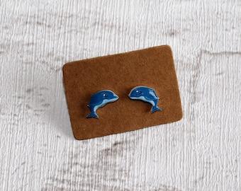 Blue Dolphin Earrings, Teeny Tiny Earrings, Big Fish Jewelry, Cute Earrings