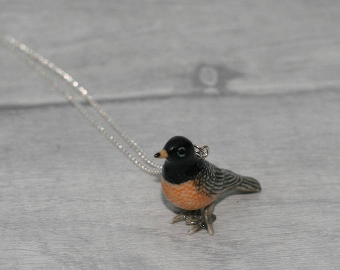 Porcelain Bird Necklace, American Robin Necklace, Animal Necklace