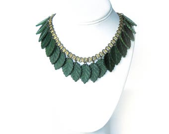 1940s Green Wood LEAF Necklace Czechoslovakia Jewelry / Miriam Haskell Style / Dangling Leaf Charms / Rare Vintage Jewelry