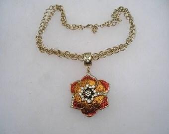 Pretty Large Rhinestone & Glitter Orange Flower Pendant Necklace