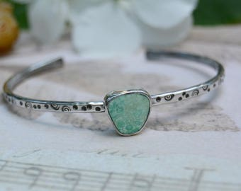 Turquoise Cuff Bracelet. Spiral Dot Stamped Skinny Sterling Silver Bracelet. Mint Green Turquoise Stacking Bracelet. Everyday Jewelry.