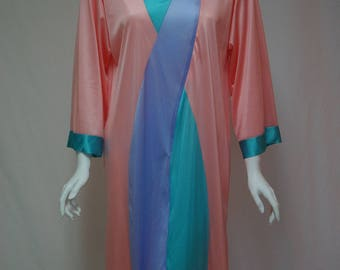 Vintage Vanity Fair Robe, Size Small Color Blocked Knee Length Robe, Peach Lavender and Teal Nylon Robe