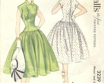1950s McCall's 3239 Vintage Sewing Pattern Misses One Piece Dress, Drop Waist Dress, Full Skirt Dress, Party Dress Size 14 Bust 32