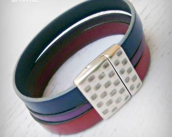 Bi Pride Leather Cuff - Bisexual Pride - Bi Pride Bracelet - Magnetic Clasp - Bi Pride Flag - LGBTQQIA - Pride - Leather Bracelet - Bi Pride