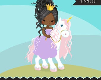 Unicorn princess clipart, pink baby unicorn and cute characters, scrapbooking, card making, embroidery, planner stickers, african american