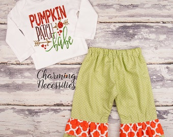 NEW Fall Thanksgiving Outfit, Baby Toddler Girl Clothes, Top Ruffle Pants Set, Pumpkin Patch Babe Charming Necessities Green Orange