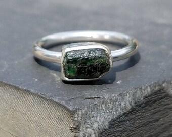 Raw emerald ring / rough emerald / uncut emerald / May birthstone / emerald jewelry / emerald crystal / emerald ring / ready to ship