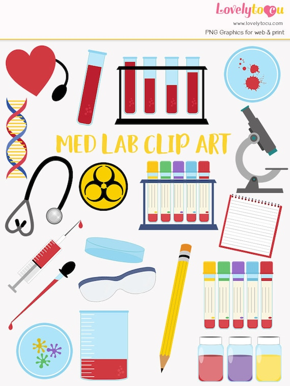 Medical laboratory clip art set blood testing med lab