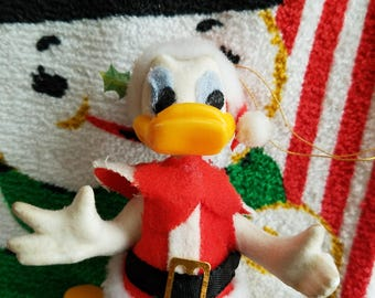 Vintage Donald Duck Christmas Ornament, Dressed as Santa Claus, For Crafting