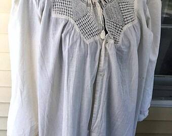 Victorian Edwardian 1900s Crochet Lace Nightgown 1910s Whitework Antique Cotton Vintage Edwardian Long Gown M.O.P. Buttons Edwardian Chemise