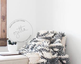 Crochet Pattern / Chunky Blanket Throw, Afghan, Textured Loop Blanket / THE MUIR Blanket