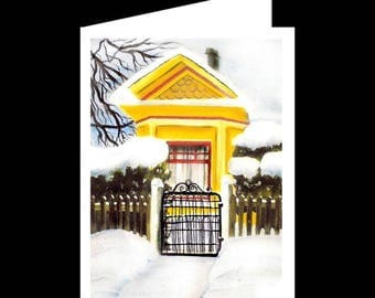 Note Card Set-Snowy Day-Yellow House-Watercolour