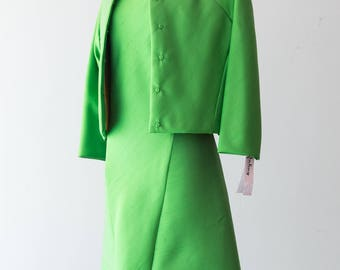 Vintage 1960s Dress - Lime Green Structured 60s Silk Dress + Coat Outfit w/ Canary Yellow Liner & Fantastic Snap Buttons // Size M