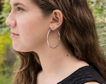 Sterling silver hoop earrings,narrow 55mm