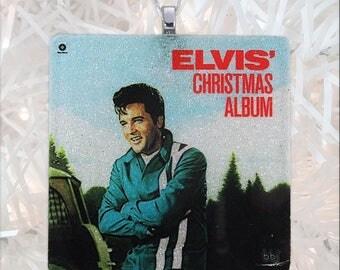 Elvis' Christmas Album Cover Glass Ornament
