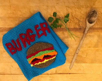 Hamburger~Kitchen Towel~ Burger~Grilling~Picnic Kitchen Towel~Picnic Towel~Cook out~Gifts for Him~Funny Kitchen Towel~Foodie Kitchen Towel