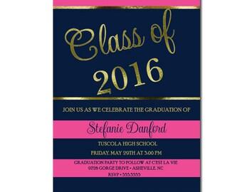 Graduation Invitation Hot Pink Navy | Navy Hot Pink and Gold Graduation Party Invitation | Printable Graduation Invite Navy Gold Hot Pink