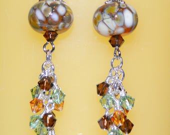 Gorgeous Lampwork Beaded Earrings W/Swarovski crystals