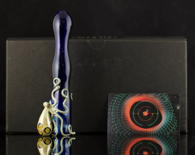 Octopus Large Chillum / Glass Pipe / Pyrex / Blue Ring Octopus / Tobacco Pipe / Heady Glass  / Cobalt Blue & Caramel / Ready to Ship #521