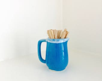 Small Ceramic Shabby Cottage Pitcher Chippy Blue Home Decor Table Toothpick Holder Collectible Kitchen Desk Accessory Craft Room Storage
