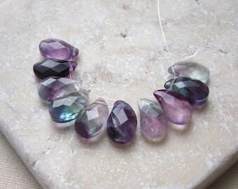 Multi Fluorite Faceted Paisley Teardrop Beads 8 x 13mm - 10 Beads