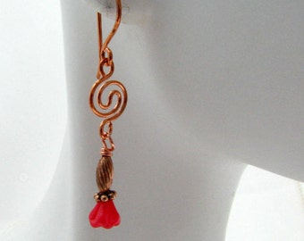 Red Flower Copper Drop Earrings Inspired by Nature Floral Earrings