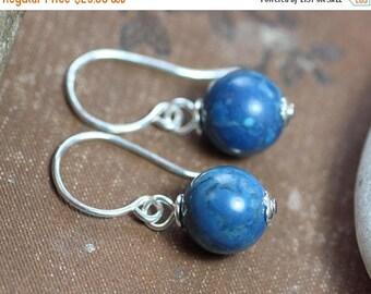 SALE Lapis Lazuli Earrings Blue Gemstone Bead Blue Earrings