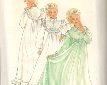 New Look 6309 Misses Victorian Nightgown Pattern Tucked Yoke Stand Up Collar Womens Vintage Sewing Pattern Size 8 - 18  Bust 31 - 40 UNCUT