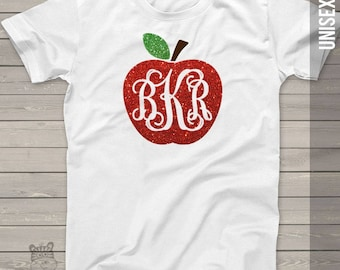 Apple monogram glitter sparkly monogrammed apple personalized ADULT shirt - great back to school shirt MSCL-043vt