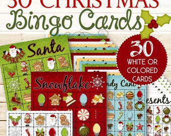 30+ Christmas Bingo Cards - INSTANT DOWNLOAD