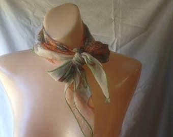 Vintage Scarf Chiffon Scarf 1970s Mod Flowered Scarf
