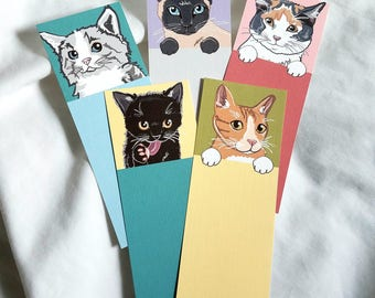 Cat Bookmarks - Eco-friendly Set of 5