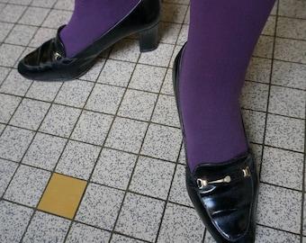 vintage 60s 70s leather black patent loafers pumps heels 38 mod 1960s 1970s