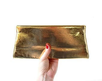 Gold Clutch Purse | Metallic Gold Bag | 1960s Purse