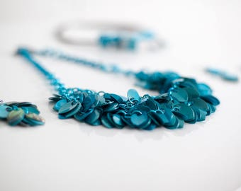 Turquoise Cascading Petals Necklace