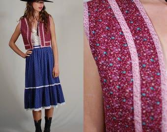 Prairie Crop Vest Vintage 70s Burgundy Ditsy Floral Prairie Boho Quilted Crop Vest (s m)
