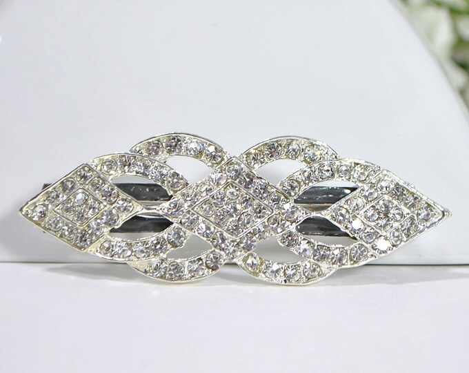 Crystal Barrette Wedding Hair Clip Prom Hair Style Dressy Barrette Handmade