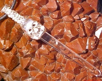 Skull Sword Of Stone Pendant With A Clear Crystal Blade
