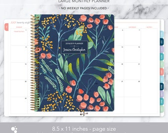8.5x11 MONTHLY PLANNER notebook   2018 2019 no weekly view   choose your start month   12 month calendar   navy watercolor floral