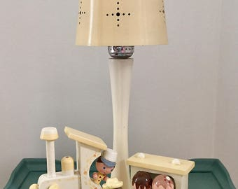 Vintage Irmi Nursery Originals choo-choo train wooden musical lamp with shade, 1960s midcentury lamp with twirling puppy music box