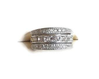 Rhinestone Convertible Ring signed Avon Vintage Interchangeable Size 7.25