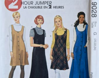 1990s McCall's 9028 Sewing Pattern 2 Hour Jumper Two Lengths Button Front Long Sleeve Top Option UNCUT Factory Folds Sizes 20-24