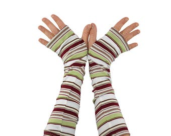 Arm Warmers in Sage White and Maroon Stripes - Cotton Fingerless Gloves - XS/S