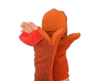 Convertible Flip Top Mittens in Mandarine Orange and Sunshine Orange - Recycled Wool - Fleece Lined