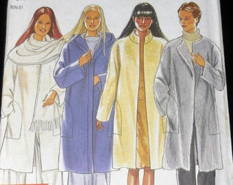 New Look 6900 - Easy Sew Coats and Scarf - Classy & Warm - Size S, M, L, XL - Big Pockets - Cozy DIY Sewing Pattern - UNCUT - Nice