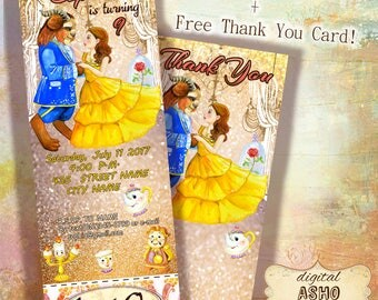 Hand Drawn Beauty and The Beast Ticket Invitation, Movie Party Invitation, Beauty and The Beast Birthday Party, Printable Ticket Invitation