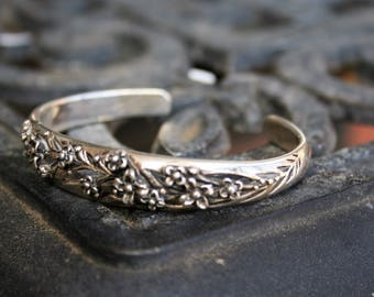 SALE...Vintage  Sterling Silver Floral Twig Cuff Bracelet One of a kind -so Elegant and Beautiful , made by  George Shaw of MA